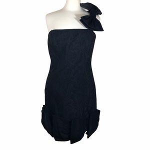 Kay Unger black silk blend taffeta bow dress in 14